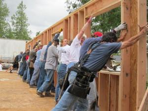 Habitat volunteers raise walls in Ferndale.