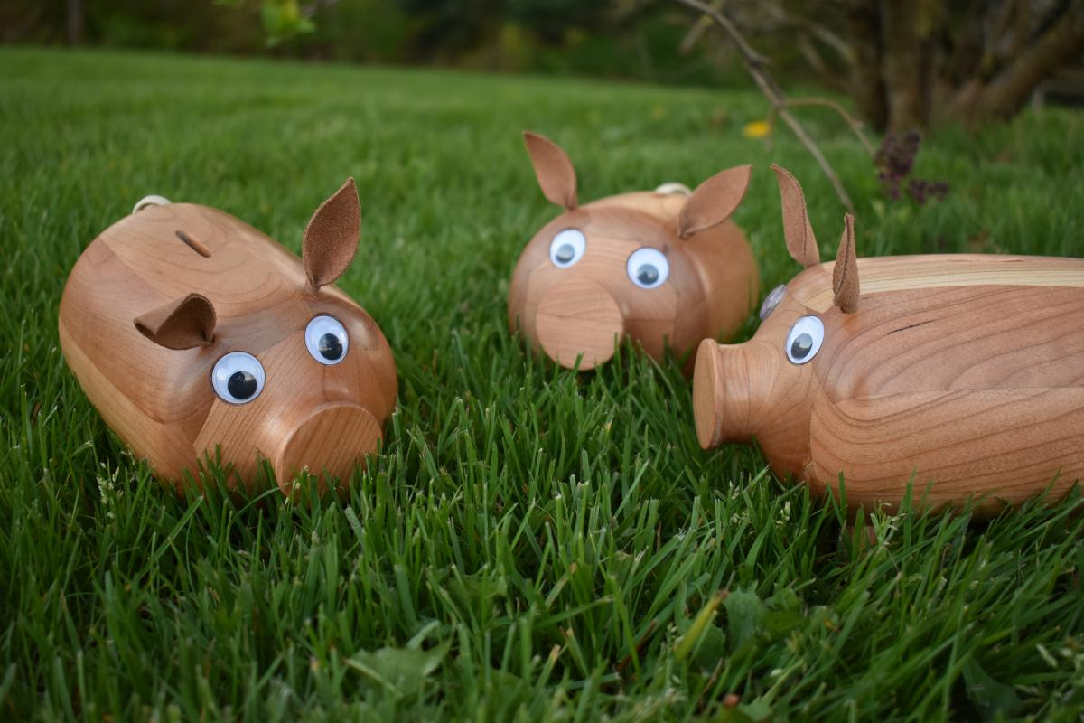 Handcrafted piggybanks by Marlin of Marlin's Auto Service